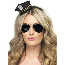 Adult Mini Police Hat Ladies Black Cop Officer Fancy Dress New