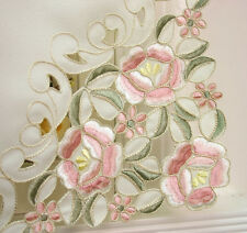 "Ready In Us. Classical floral embroidery with cutworks 24 "" tier pair"