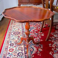 Antique Mahogany Pie Crust Scalloped Tea Table Lamp End Acantrus Claw Feet