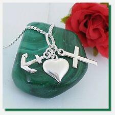 Gravur Glaube Liebe Hoffnung 925 Silber Anhänger Kreuz Herz Anker ohne Kette