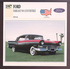 1957 Ford Fairlane 500 Sunliner Convertible Car Photo Spec Sheet Stat Info CARD