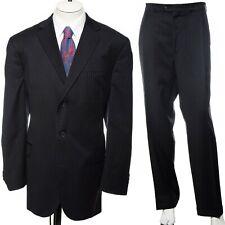 48L Stafford Black Pinstriped Wool Three-Button Suit Blazer 39x30 Trousers Big