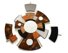 Mirror- 4 pc Zen-Abstract wood and Metal Wall Decor, Sculpture, 37 x 35 by Alisa