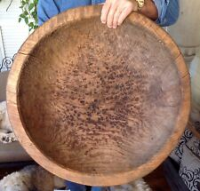 """PRIMITIVE HAND HEWN 25"""" BOWL MADE FROM STRAIGHT GRAIN TRUNK WOOD W/TEXTURE- NICE"""