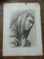 Stampa Ritratto Beatissima Vergine Incisione Acquaforte Paolo Fidanza Raphael