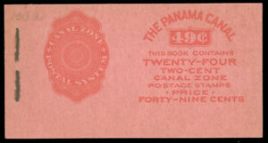 CANAL ZONE 1928 2c CARMINE BOOKLET PANE OF SIX IN COMPLETE BOOKLET WITH FOUR PAN