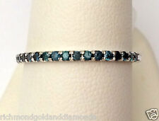 Ladies Round Pave Set Blue Diamonds Stackable Band Ring 10k White Gold skinny