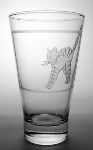 """Hand Engraved Cat Lovers Glass #11 - """"Happy Catty"""""""
