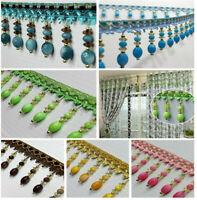 DIY Curtain Beaded Lace Tassel Beaded Fringe/Trim Sewing/Costume/Crafts 1M x 8cm
