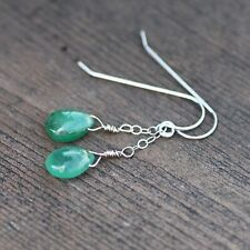 Untreated Natural Zambian Emerald Earrings Solid 14K White Gold , May Birthstone