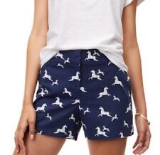 "Ann Taylor LOFT - Womens 8 (M) - NWT - 4"" Navy Blue Zebra Horse Riviera Shorts"