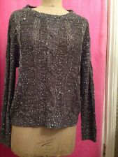 Grey Silver Sequin Sparkly Cable Knit Jumper Size 16 Party Fancy