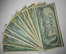 1954 Bank of Canada 1 Dollar Note Lot, Choose How Many!