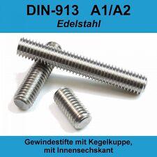 M5 DIN913 A2 Edelstahl Gewindestifte Kegelkuppe Innensechskant Madenschraube M5x