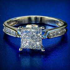 1.14ctw Natural Diamond Ring Princess Invisible Set Estate 14k White Gold Ring