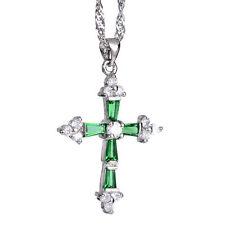 Halsketten und Anhänger aus Weißgold mit Smaragd