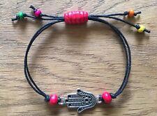 Hamsa Hand Of Fatima / Miriam Adjustable Black Cord Bracelet + Gift Bag