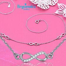 Plata esterlina 925 símbolo infinito amor Infinito Colgante Collar Cz Caja De Regalo