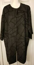 Eileen Fisher Round Neck Alpaca Charcoal Gray Abstract Black Coat Size Petite Lg