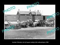 OLD LARGE HISTORIC PHOTO OF ANSELMO NEBRASKA, WAGONS AT THE RAILROAD DEPOT c1900