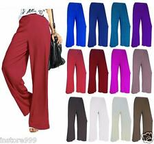 New Ladies Palazzo Plain Flared Wide Leg Pants Lot leggings Baggy Trousers 8-26