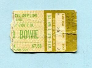 1976 David Bowie Concert Ticket Stub Memphis TN Isolar Station to Station Tour