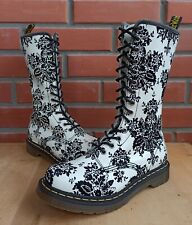 Dr Martens 1b99 Floral Flocking Boots Women 5 UK 7 US White Black 14 eye 1914