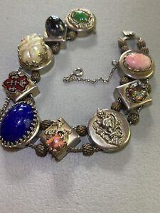 """Vintage Art Deco Tourmaline Slide Charm Phoenix Fleur de Lis Bracelet Safety 8"""""""