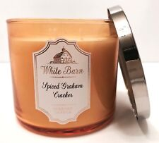 BATH & BODY WORKS WHITE BARN SPICED GRAHAM CRACKER SCENTED 3 WICK CANDLE 14.5oz