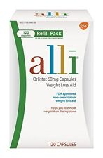 alli Weight Loss Aid Orlistat 60 mg Capsules,Refill Pack 120 Count Each