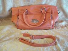 New Mystique Satchel Handbag Faux Leather Orange Detachable Shoulder Strap