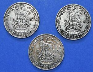 3 x Shilling George VI Date run 1943 - 1945 1/- Silver English Shillings