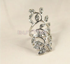 High-qualityDeluxe Plated Crystal Long Branch Leaf Knuckle Wrap Finger TH