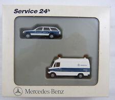 MERCEDES-Benz Set 24h Service-veicoli Bianco-Blu Herpa 1:87 h0 IN SCATOLA ORIGINALE [k1]