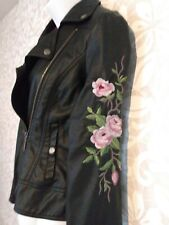 Embroidered black with floral Moto jacket. Lined. Size medium. NWT