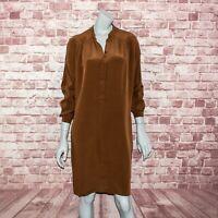 ETRO Women's 100% Silk Brown Shift Dress Long Sleeves Size 44