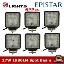 6X 4inch 27W LED Work Light Spot Driving Offroad Square Truck Fits Jeep Boat ATV