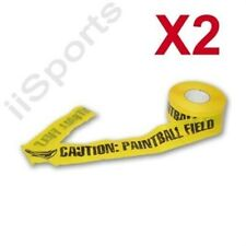 "2 rolls Yellow Safety Paintball Field Barrier Marking Plastic Tape 3""x 1000' Lot"
