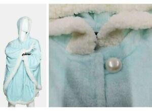 Soft & Cozy Plush Hoodie Shimming Blue / Green  Angel Wrap / Robe w/ Sherpa Trim