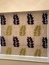 Handmade Roman Blind, in Cream with lime green and aubergine leaf pattern
