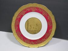 Bavaria Germany Gold Encrusted Fairy Nymph Plate Red Antique Rare 10.75""
