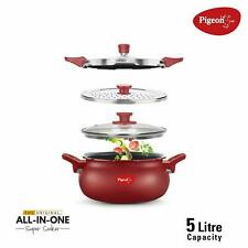 Pigeon Multi Handi 5 Ltr Red All in One Kadai Cum Cooker For Induction & Gas