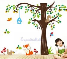 1.5M Height Fox Monkey Tree Baby Nursery Room Wall Decals Removable Stickers