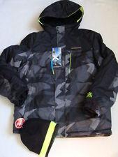 NWT Boys Zero XPosur Snowboard Jacket Size 18 20 XL Black Winter Ski Coat Beanie
