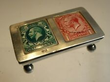 SILVER 1915 HALLMARKED DOUBLE ENAMEL STAMP BOX