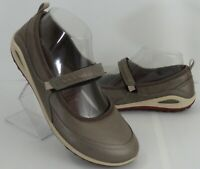 Womens ECCO Biom YAK Leather Mary Jane Gray Flats Shoes Size 6/6.5 US 37 EUR