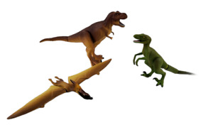 Tomy Ania Dinosaur lot of 3 Tyrannosaurus Rex Raptor Pterodactyl