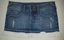 Womens eyeshadow denim jean mini skirt ~ white bottom flare sz 1 ~ 25