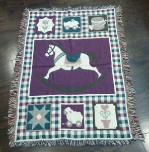 Woven Fringe Tapestry Throw Blanket Rocking Horse Sheep Rabbit Drum Trumpet