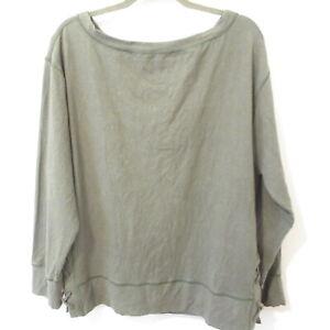 Prana Women's Organic Cotton Hemp Blend Sweatshirt Criss Cross Sides Green Sz L